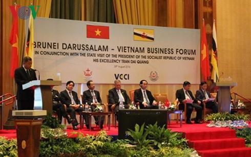 Staatspräsident Tran Dai Quang nimmt an Forum der Unternehmen aus Vietnam und Brunei teil - ảnh 1
