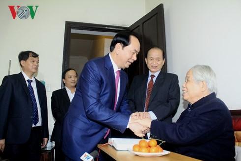 Staatspräsident Tran Dai Quang beglückwünscht ehemaligen KPV-Generalsekretär Do Muoi - ảnh 1