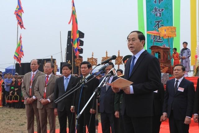 越南国家主席陈大光出席2017年堆山籍田节 - ảnh 1