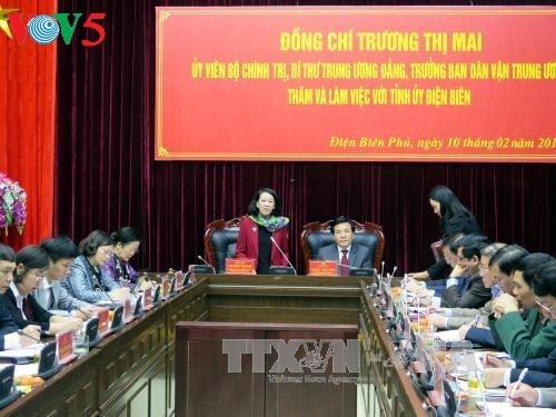 越共中央民运部部长张氏梅视察奠边省 - ảnh 1