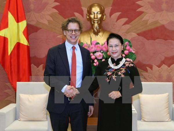 越南国会主席阮氏金银会见瑞典和匈牙利驻越大使 - ảnh 1
