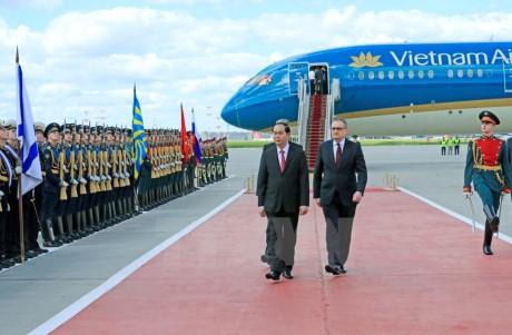 俄方举行正式仪式欢迎越南国家主席陈大光访俄 - ảnh 1