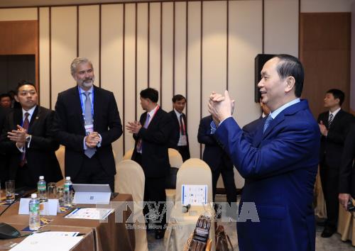 越南国家主席陈大光会见美国大型企业代表 - ảnh 1