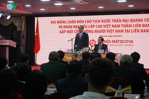 Le président Tran Dai Quang rencontre la diaspora vietnamienne en Russie - ảnh 1