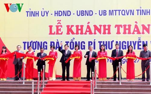 Президент СРВ принял участие в церемонии открытия памятника генсеку ЦК КПВ Нгуен Ван Линю - ảnh 2