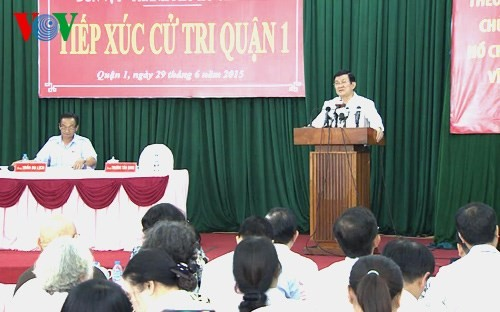 Президент СРВ Чыонг Тан Шанг встретился с избирателями города Хошимина - ảnh 1