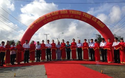 Премьер Вьетнама принял участие в церемонии введения в эксплуатацию моста в провинции Камау - ảnh 1