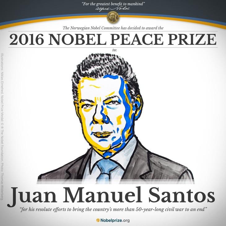 Президент Колумбии получил Нобелевскую премию мира 2016 года - ảnh 1