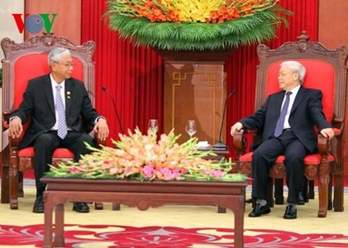 Генсек ЦК КПВ Нгуен Фу Чонг принял президента Мьянмы - ảnh 2
