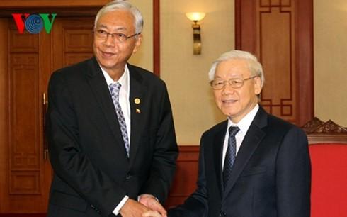 Генсек ЦК КПВ Нгуен Фу Чонг принял президента Мьянмы - ảnh 1