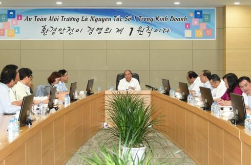 Нгуен Суан Фук провел рабочую встречу с руководством компании Самсунг в провинции Тхайнгуен - ảnh 1