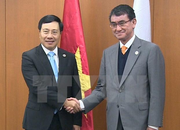 Фам Бинь Минь встретился с главами МИД Японии и Республики Корея - ảnh 1