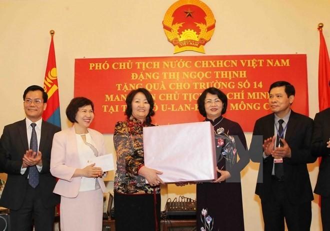 Vicepresidenta vietnamita prosigue actividades en Mongolia - ảnh 1