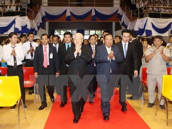 Nguyen Phu Trong rencontre les étudiants de l'Université nationale du Laos - ảnh 1