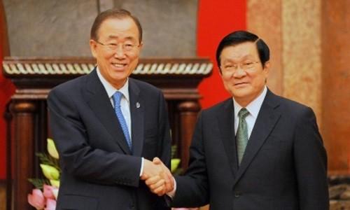សកម្មភាពរបស់អគ្គលេខាធិការ អ.ស.ប. លោក Ban Ki Moon នៅវៀតណាម - ảnh 1