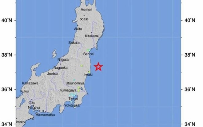 ការរញ្ជួយដីនៅជប៉ុន៖រលកយក្សស៊ូណាមីមានកំពស់ជាង១ម៉ែត្រនៅ Fukushima  - ảnh 1
