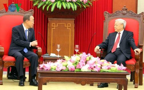 Tổng Bí thư Nguyễn Phú Trọng tiếp Tổng Thư ký Liên Hợp Quốc Ban Ki-moon - ảnh 1