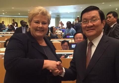 Truong Tan Sang rencontre la Premère ministre norvégienne - ảnh 1
