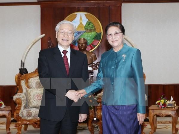 Nguyen Phu Trong rencontre plusieurs hauts dirigeants laotiens - ảnh 1