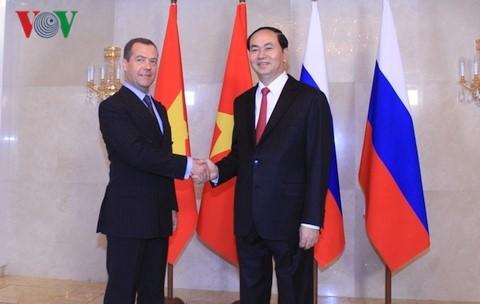Presdien Vietnam, Tran Dai Quang melakukan pertemuan dengan PM Federasi Rusia, Dmitry Medvedev - ảnh 1