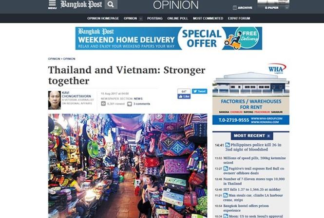 Pers Thailand memberikan penilaian positif tentang prospek hubungan dengan Vietnam sehubungan dengan kunjungan PM Vietnam Nguyen Xuan Phuc - ảnh 1