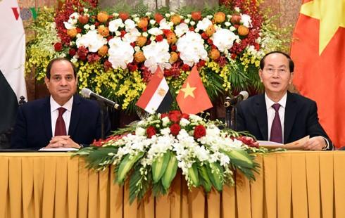 Presiden Vietnam, Tran Dai Quang memimpin resepsi khidmat untuk Presiden Mesir - ảnh 1