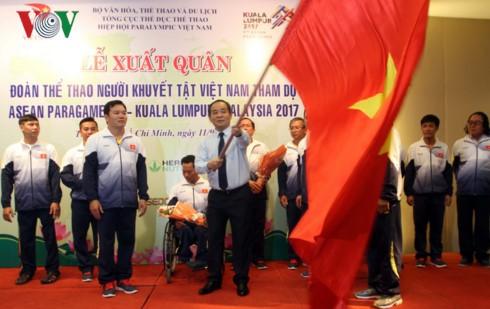 Upacara pemberangkatan kontingen olahraga disabilitas Vietnam untuk menghadiri Para Games 9 - ảnh 1