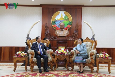 老挝国会主席巴妮会见越南国会副主席杜伯巳 - ảnh 1