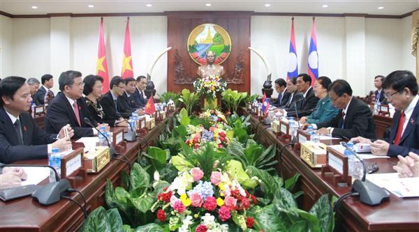 阮氏金银与老挝国会主席巴妮举行会谈 - ảnh 1