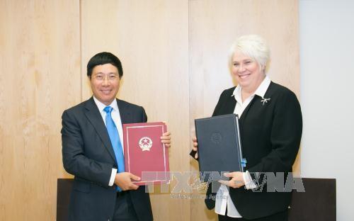 Vize-Premierminister und Außenminister Pham Binh Minh trifft Außenminister Estlands und Rumäniens - ảnh 1