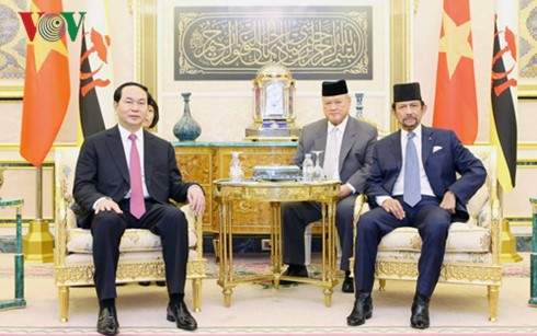 Staatspräsident Tran Dai Quang führt Gespräch mit dem König Bruneis - ảnh 1