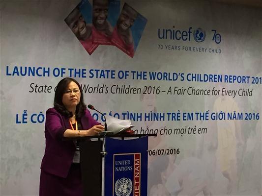 Công bố Báo cáo tình hình trẻ em thế giới 2016: Cơ hội công bằng cho mọi trẻ em  - ảnh 1