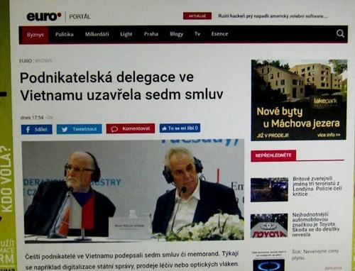 Báo chí Czech đưa tin về chuyến thăm của Tổng thống Milos Zeman tại Việt Nam  - ảnh 1