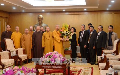 Trưởng ban Dân vận Trung ương Trương Thị Mai tiếp đoàn đại biểu Giáo hội Phật giáo Việt Nam  - ảnh 1