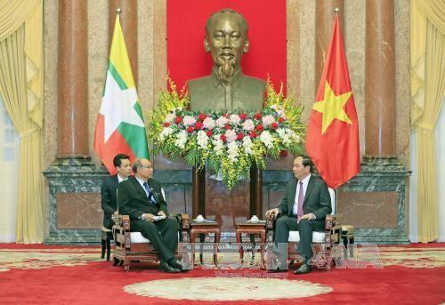 越南国家主席陈大光会见缅甸联邦议会议长兼民族院议长曼温凯丹 - ảnh 1