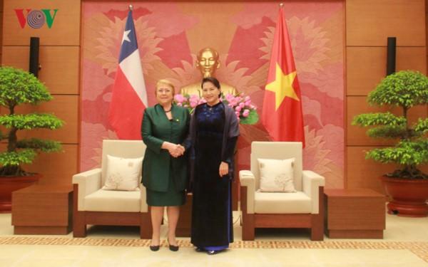 ประธานสภาแห่งชาติเหงวียนถิกิมเงินพบปะกับนาง มิเชล บาเชเลท ประธานาธิบดีชิลี - ảnh 1