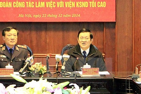 President Truong Tan Sang works with the Supreme People's Procuracy - ảnh 1