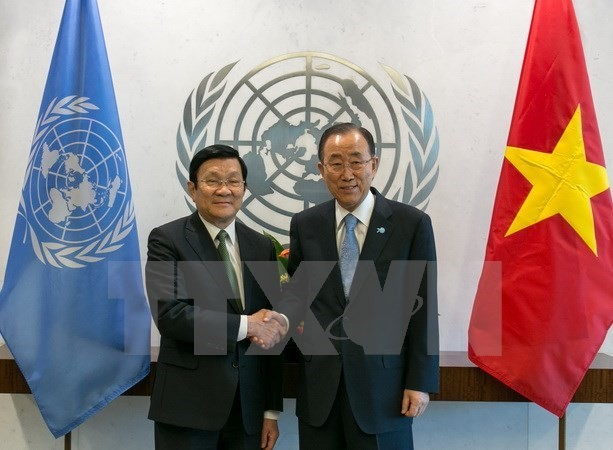 President Truong Tan Sang meets with UN Secretary-General in NY - ảnh 1
