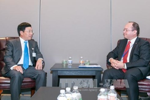 Deputy PM and Foreign Minister Pham Binh Minh meets Estonian, Romanian counterparts - ảnh 1