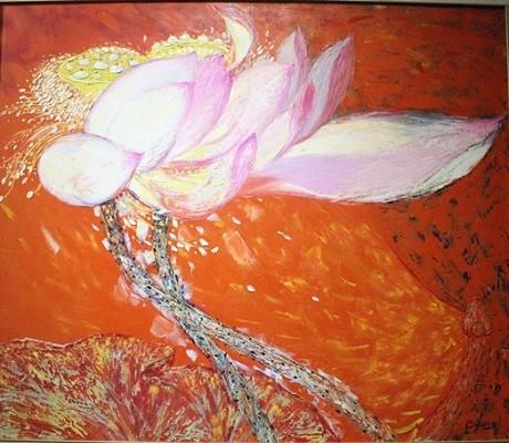 Lotus painting exhibition opens in Hanoi - ảnh 2