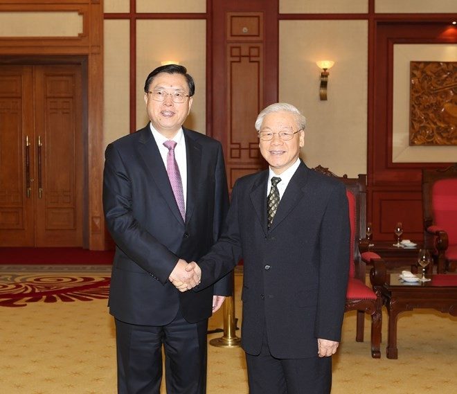 Party chief welcomes Chinese legislative leader  - ảnh 1