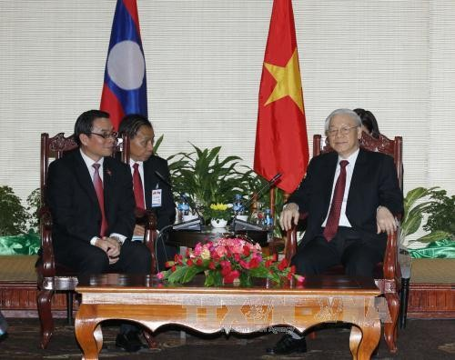 Party leader Nguyen Phu Trong conludes visit to Laos - ảnh 1