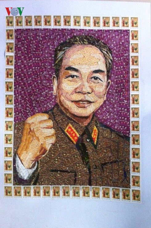 Artist Do Lenh Tuan makes inspiring pictures out of postal stamps - ảnh 3