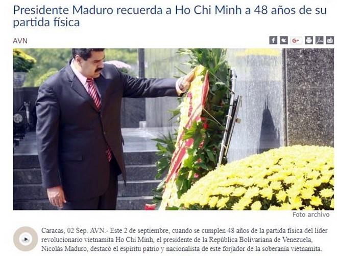 El presidente de Venezuela elogia la dignidad del presidente Ho Chi Minh - ảnh 1