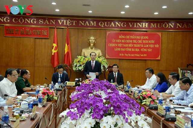 Presidente de Vietnam orienta el desarrollo socioeconómico de Ba Ria-Vung Tau - ảnh 1