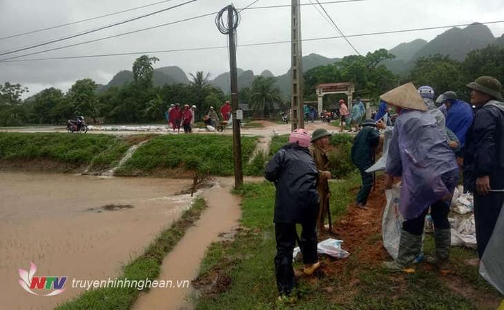 Región norvietnamita sigue con labores para minimizar las consecuencias del huracán Son Tinh - ảnh 1