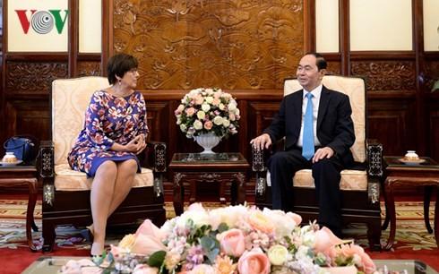 Presidente de Vietnam recibe a embajadoras de Canadá y Bélgica - ảnh 2