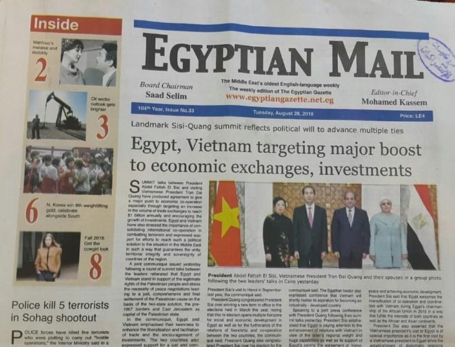 Medios de comunicación de Egipto ensalzan visita del presidente vietnamita - ảnh 1
