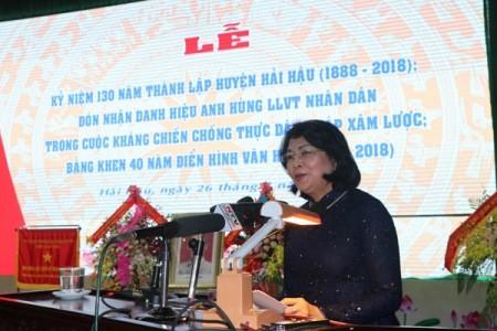 Conmemoran 130 aniversario de la fundación del distrito de Hai Hau en la provincia de Nam Dinh  - ảnh 1