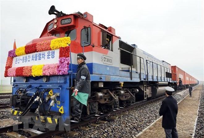 韩朝铁路对接项目开工仪式在朝鲜开城板门站举行 - ảnh 1